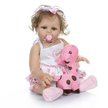 New Full Silicone Reborn Baby Girl Doll Reborn Babies Bebe Reborn Corpo de Silicone inteiro Realista Boneca Brinquedos Juguetes pursue silicon full body soft reborn baby doll with blue eyess bebe reborn silicone realista bonecas reborn de silicone inteiro