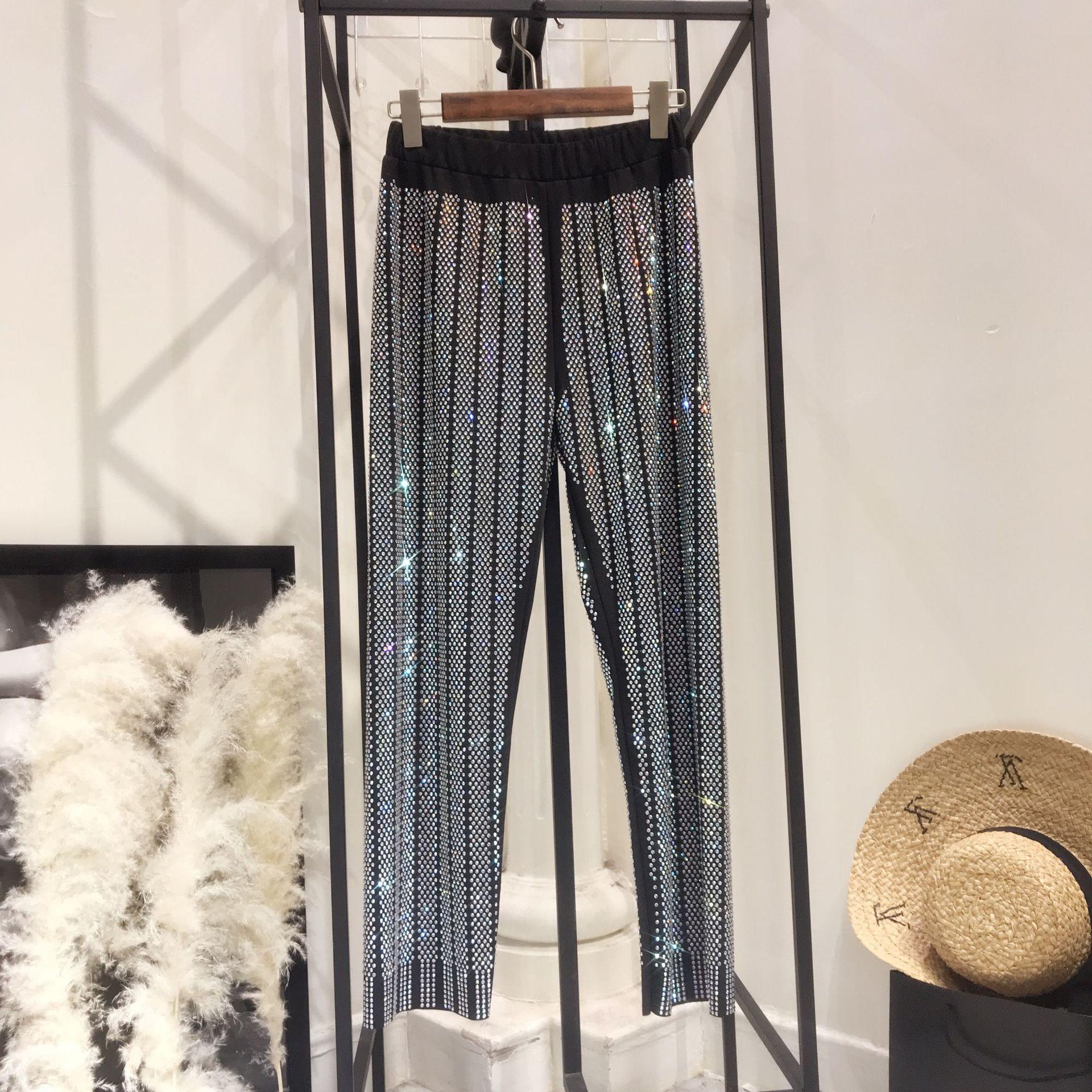 Lentejuelas Marca Cintura Completa De Black Calle Alta 2018 Longitud Pantalones Pierna Con Llamaradas Ancha Moda Bordadas wSqHzRI