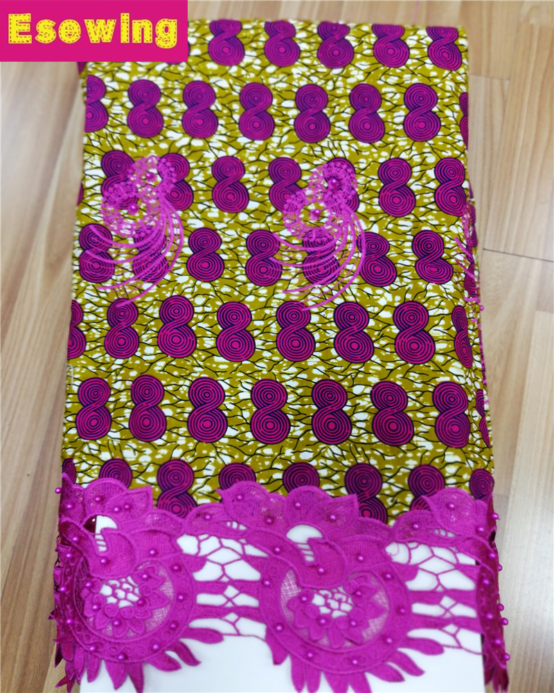 Esewing High Quality African Fabric Wax With Lace Latest Nigerian Fabric Ankara Wax With Guipure Cupion Lace For African DressEsewing High Quality African Fabric Wax With Lace Latest Nigerian Fabric Ankara Wax With Guipure Cupion Lace For African Dress