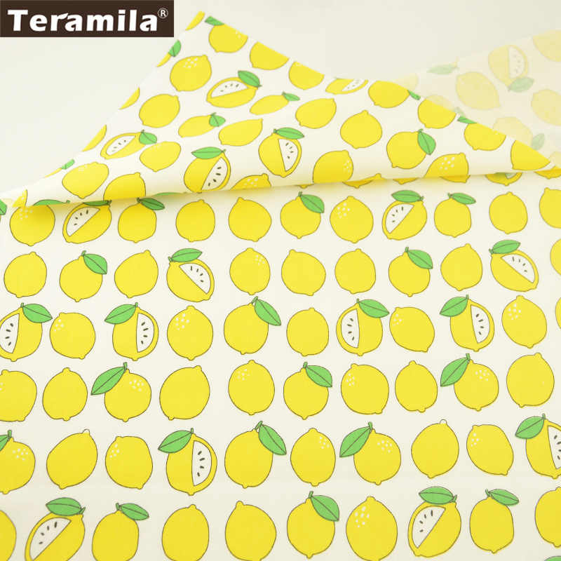 Teramila Fabric Cartoon Lemon Designs 100% Cotton Twill Material Quiting Home Textile Patchwork DIY For Scrapbooking Bedding