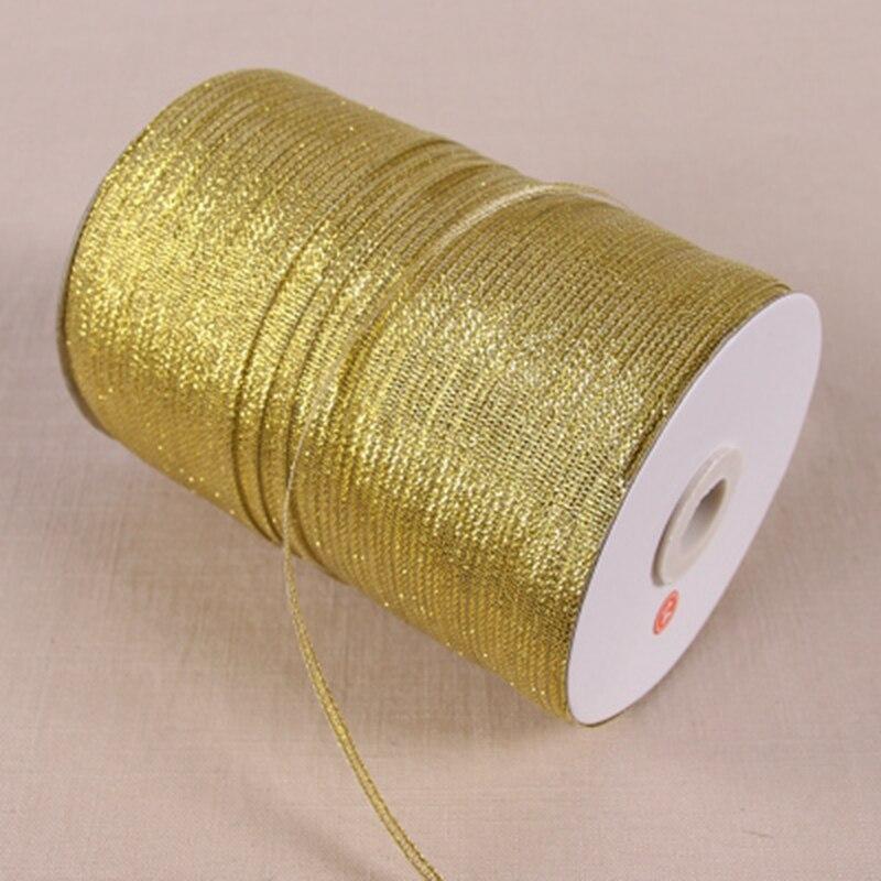 20 ярдов мм 3 мм ширина Блестящая лента подарочная упаковка пояс Свадебная вечеринка Рождество украшение лента Швейные аксессуары золото