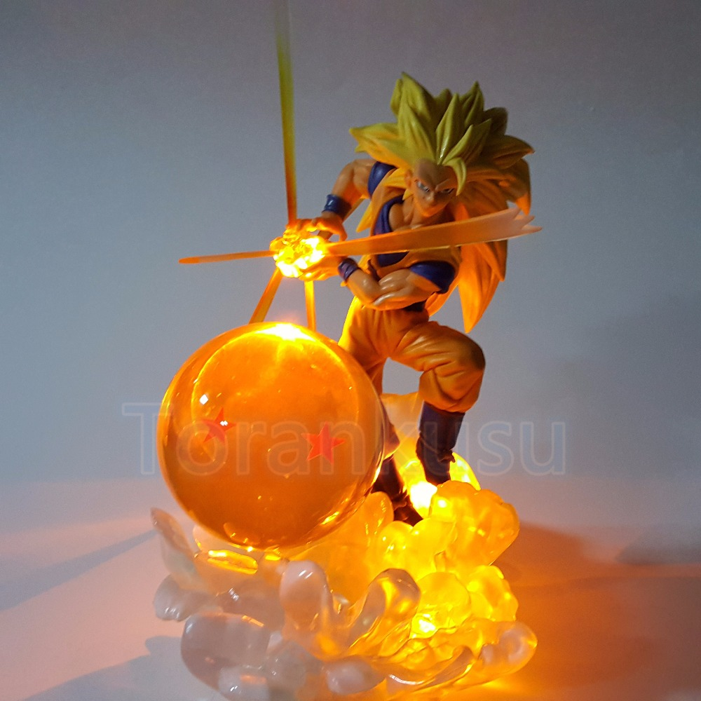 Dragon Ball Z Action Figure Son Goku With 7cm Ball Light DIY Display Toy Anime Dragon Ball Goku Kamehameha Super Saiyan DIY119 dragon ball z action figure god goku super saiyan led lighting display toy anime dragon ball son goku collectible model diy155