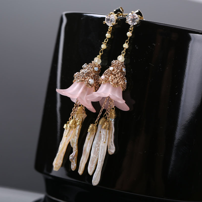 Mother of Pearl Earrings female flowers fringe Earrings 925 Silver Earrings Japan new long earrings pair of stylish engraved heart fringe earrings for women