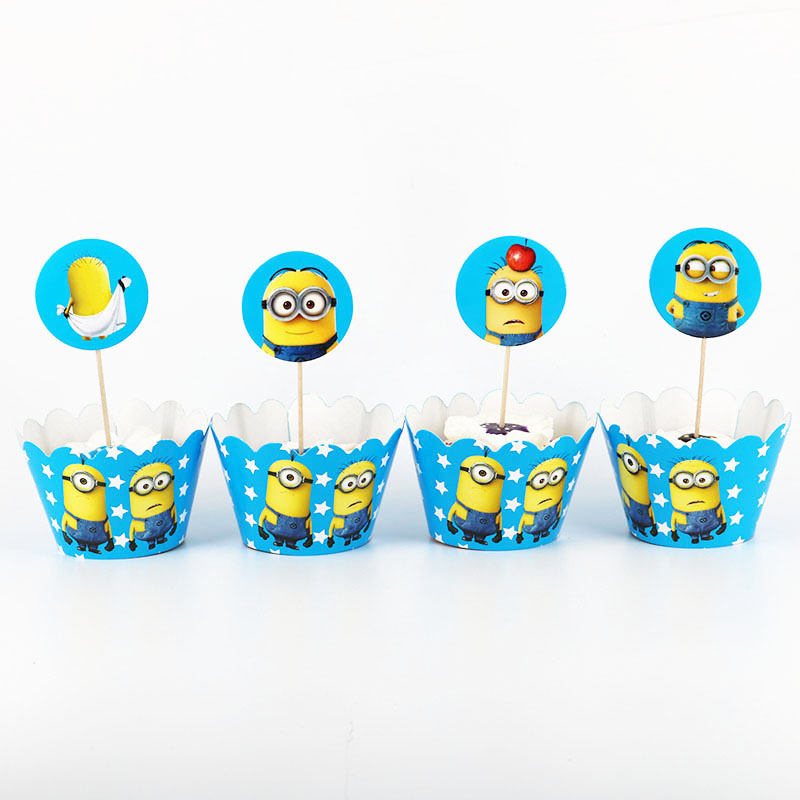 24pcs Minions Cupcake Wrappers Toppers For Kids Party Birthday Decoration Gifts