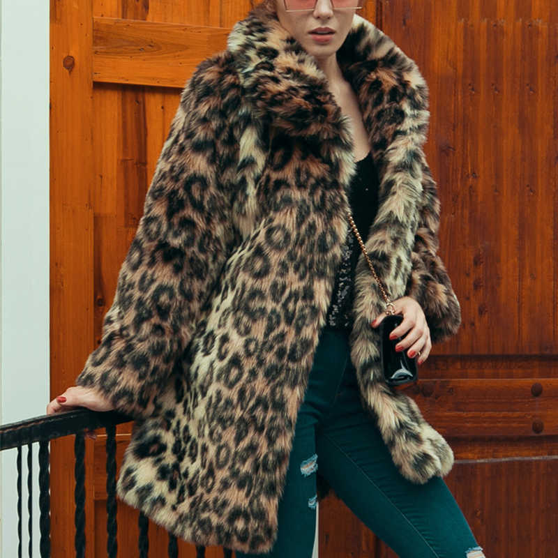Chic Womens Leopard Faux Fur Coat Winter Thicken Warm Long Sleeve Slim Fur Coat Outerwear Elegant Trench Overcoats