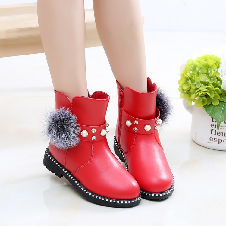 New Style Girls Boots Children 's Cotton Shoes 2018 Winter New Plus Velvet Casual Pearl Wool Snow Leather High-quality Boots