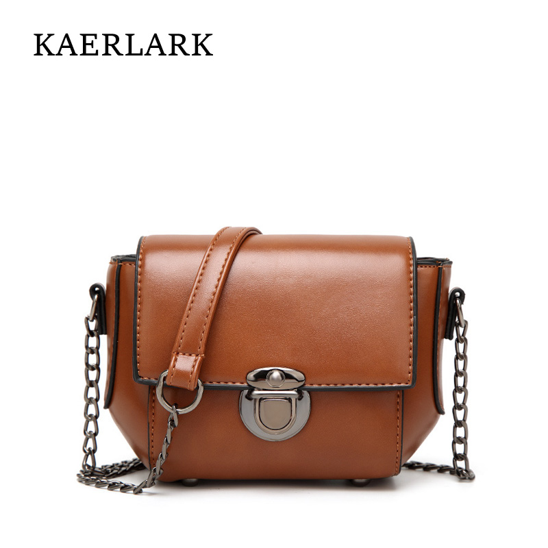 Kaerlark Brand New 2017 Limited Women Small Flap Messenger Bags Girl Solid Mini PU Leather Chains