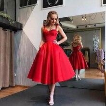Новое поступление, вечернее платье на тонких бретельках, торжественное платье, красное атласное платье для выпускного вечера, вечерние платья трапециевидной формы, недорогие платья