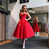 New arrival Spaghetti Evening Dresse Formal vestido noiva sereia red satin prom party robe de soiree A line sweetheart cheap