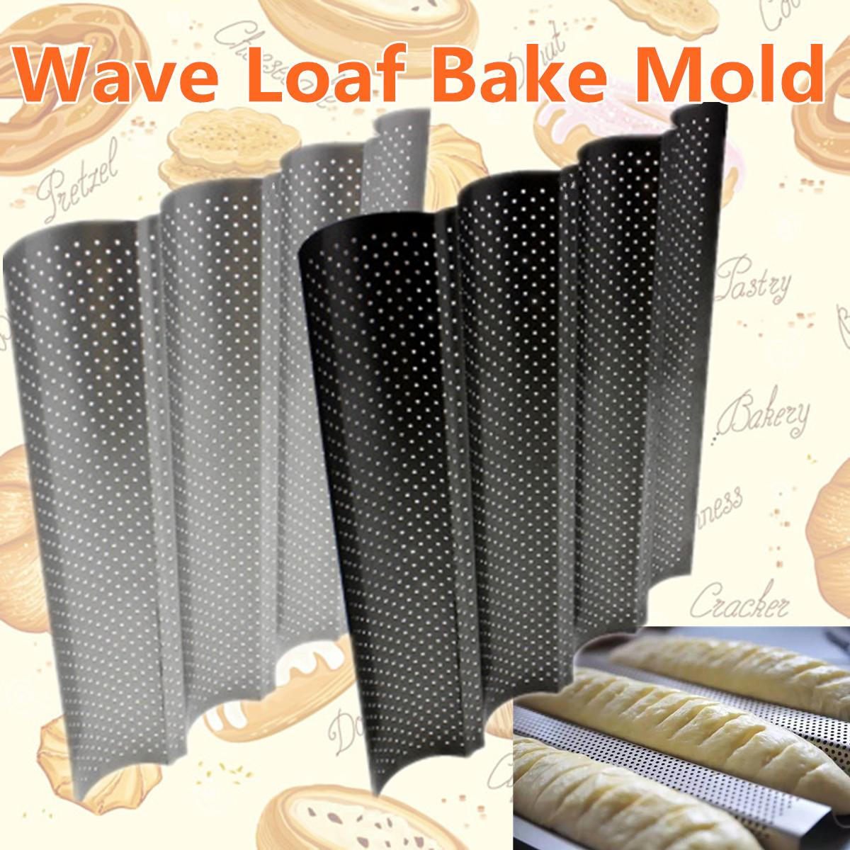 4 Gutters Non-stick Perforated Baguette Pan French Bread Pan Wave Loaf Bake Bakeware Mould Kitchen Appliance Parts