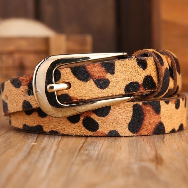 Конский волос сексуальная леопардовым принтом диких тонкие ремни для женщин новый 2017 бренд натуральной кожи моды пояса женского платье ремень дизайнер