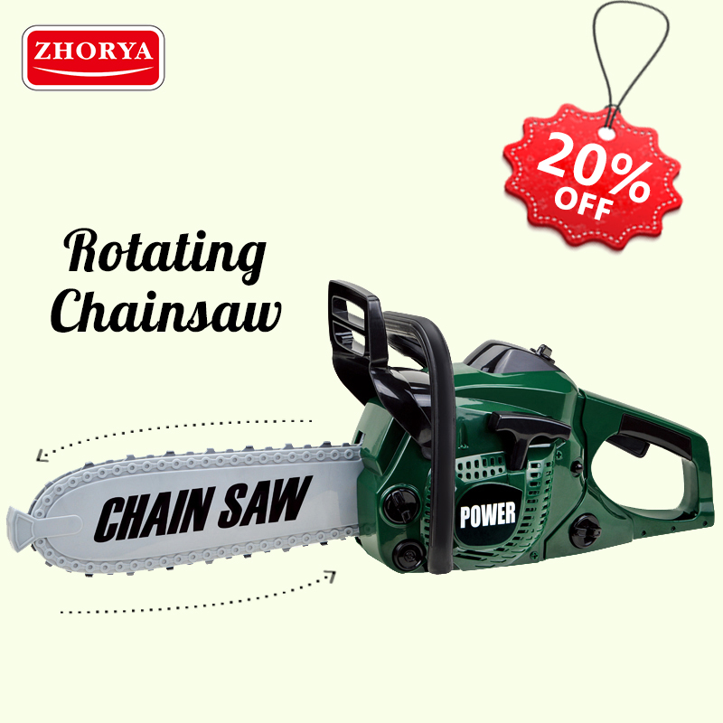 Zhorya Pretend Play Repair Tool Rotating Chainsaw with Sound Educational Toys Simulation Garden Tool Toys for Boys Children