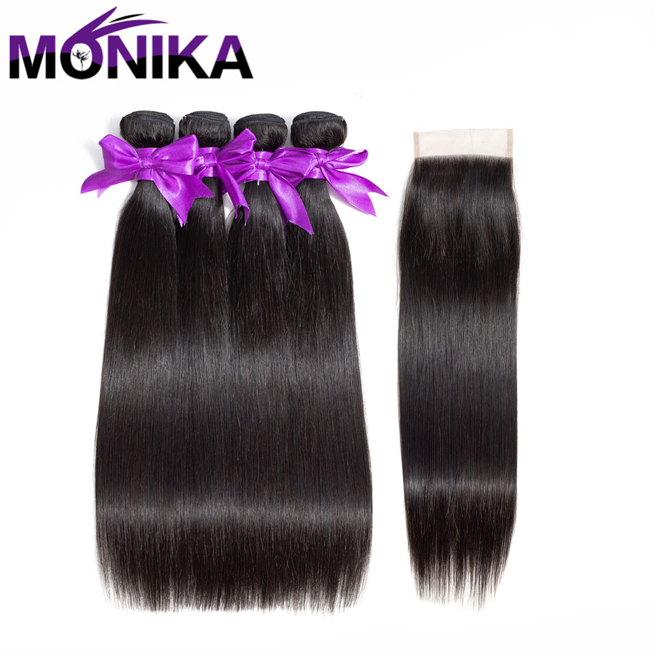 Monika Brazilian Hair Products Human Hair Straight Wave 4 Bundles With Closure Natural Color Human Hair Bundles With Closure