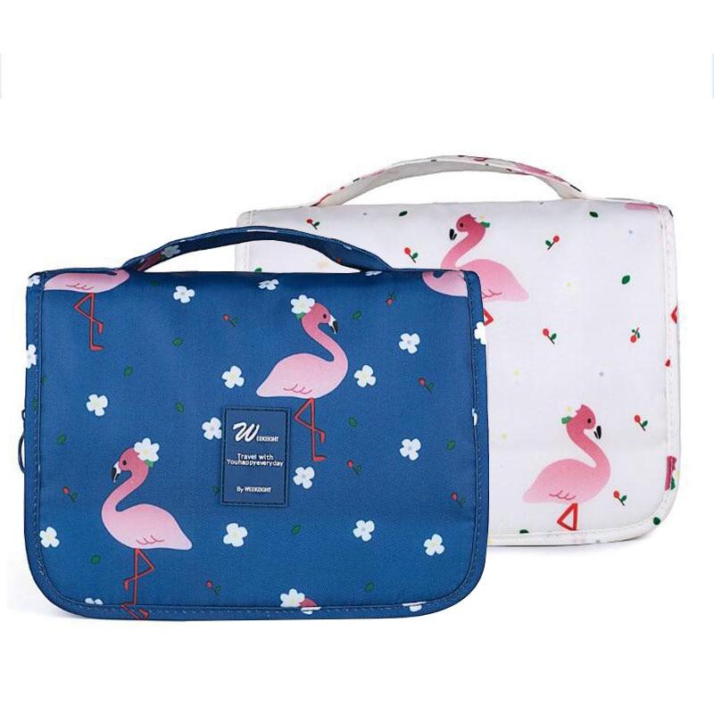8e056a1321d9 Printed Hanged Cosmetic Bag Flamingo Makeup Beauty Case Waterproof ...