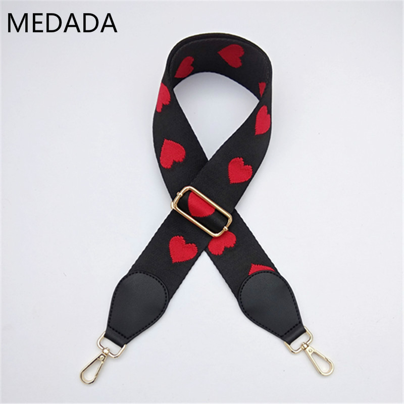 Fashion Accessories Man Women Adjustable Shoulder Hanger Long And Wide Shoulder Strap, Red Heart, Inclined Lady's Bag Strap