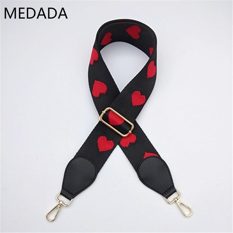 Fashion Accessories Man Women Adjustable Shoulder Hanger Long And Wide Shoulder Strap, Red Heart, Inclined Lady's Bag Strap