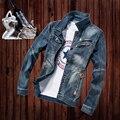 Camisas de mezclilla de Los Hombres Camisa Casual Camisa de Manga Larga Nuevo Diseño Delgado Jeans Masculina Masculina Camisas de Mezclilla de Moda M-3XL Tamaño