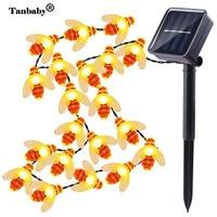 Tanbaby 5M Solar String Lights 20 Led Honey Bee Shape Solar Powered Fairy Lights For Outdoor