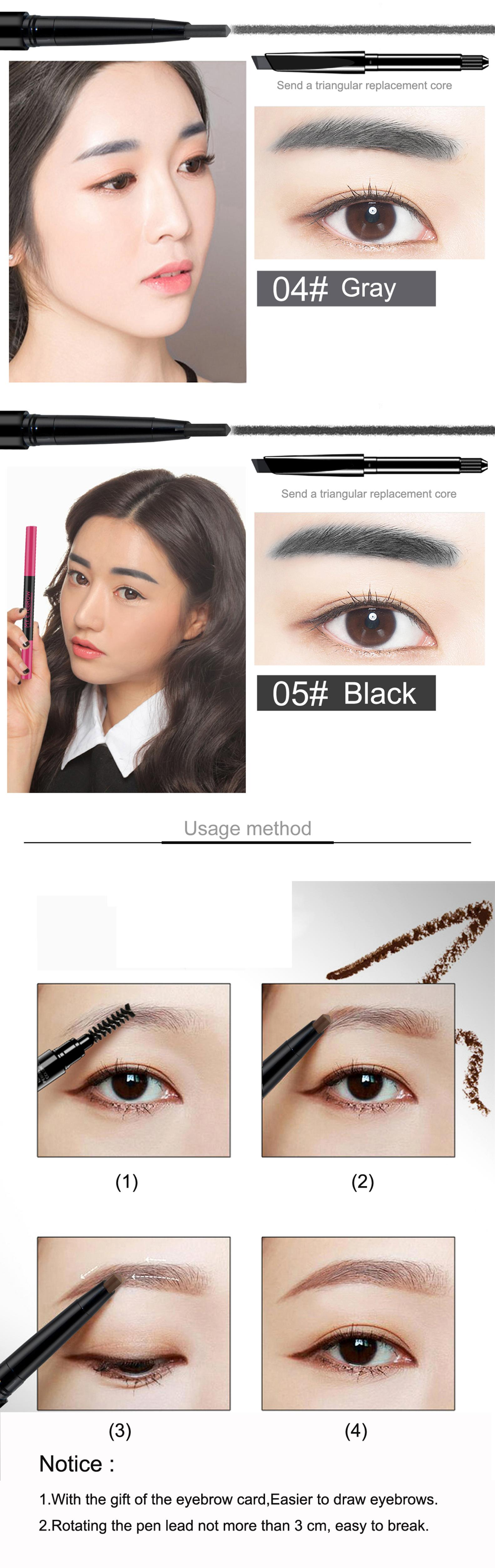 Novo 5 Colors Eyebrow Pencil Drawing Pen Eye Brow Makeup Tool 3pc