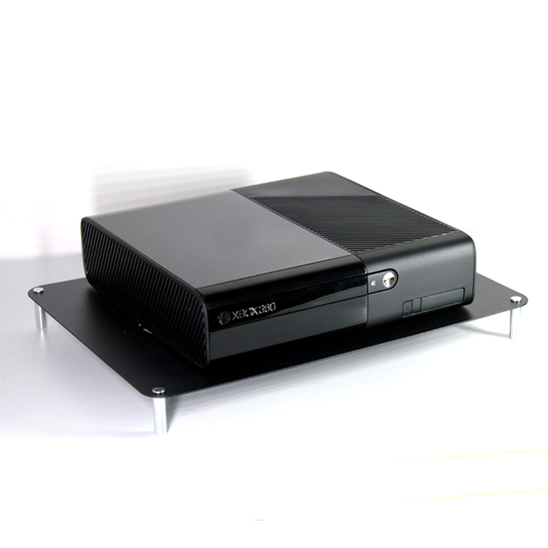 Single layer metal storage shelf with USB 12cm silent cooling fan for notebook DVD DVR PS4