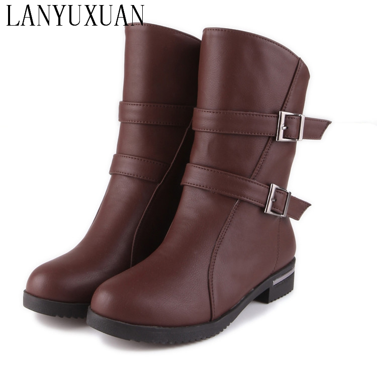 Big size New Round  Toe Buckle Boots for Women Sexy Ankle Boots Heels Fashion Winter  Spring  Autumn Shoes Casual Zip  56-1