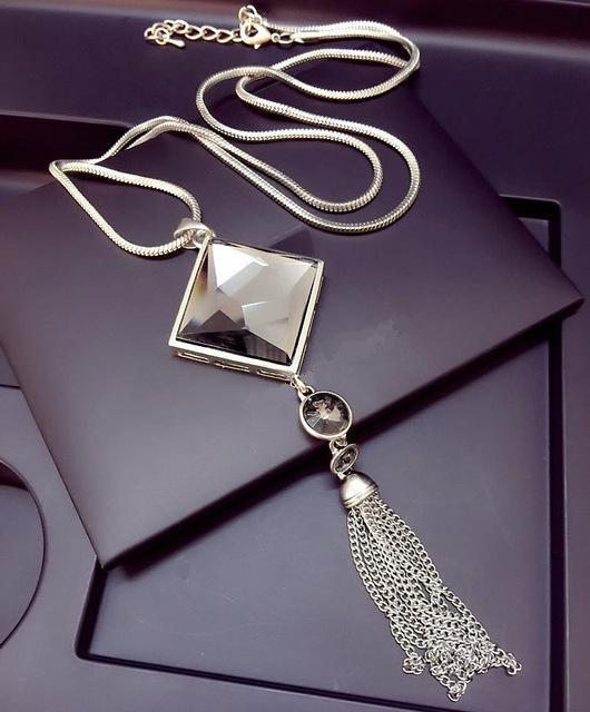 Высочайшее качество площади кристалл кулон долго кисточкой ожерелье женщины оптовая продажа ювелирных изделий 2016 Серебряная Цепочка