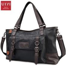 UIYI Fashion Patchwork Men Handbag High Quality PU Leather Shoulder Bags Men Travel Bags Decorative Belt Male Bag