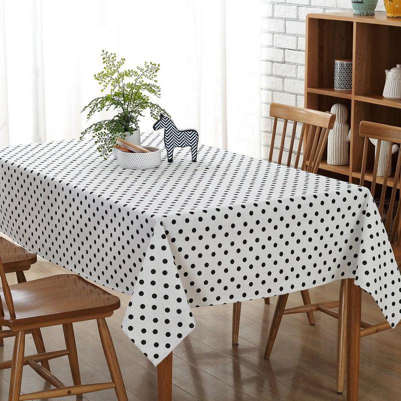 Modern Minimalist Black Polka Dot Tablecloths Restaurants Home Hotel Table Cloth Dustproof Tablecloth Cover Towel White