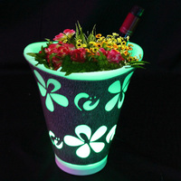 Colorful LED Flower Planter Pot Ice Bucket Color Changing Bar Nightclubs LED Light Up Champagne Beer Bucket Bars Night Party 1pc
