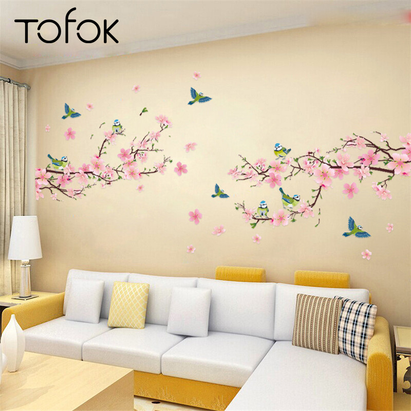 Tofok DIY Flower Wall Stickers Art Decor Decals Graceful Peach Blossom Romantic Living Room Bedroom Decor Kids Room Wall Mural
