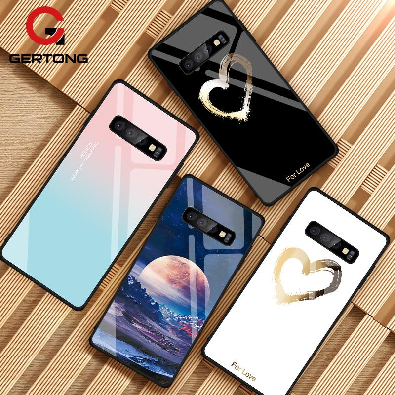 Tempered Glass Case For Samsung Galaxy S10 S9 S8 Plus S10e A7 2018 Note 9 8 10 Pro A50 Shockproof Cover Star Space Gradient Case(China)