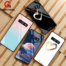 Tempered Glass Case untuk Samsung Galaxy S10 S9 S8 Plus S10e A7 2018 Catatan 9 8 10 Pro A50 Shockproof sampul Ruang Gradient Case(China)