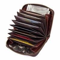 JMD 100 Cowhide Leather Zipper Around Wallet Coffee RFID Blocking Card Holder R 8117Q