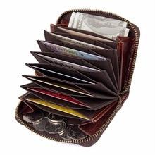 JMD 100% Cowhide Leather Zipper Around Wallet Coffee RFID Blocking Card Holder R-8117Q