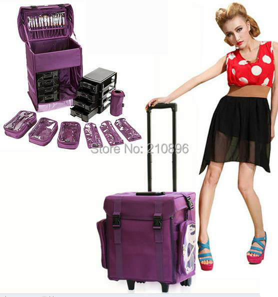 Aluminum Hair Stylist Bag Easy Carrying Cosmetic Trolley Makeup