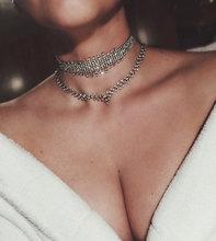 KMVEXO 2017 Fashion Double Layers Heart Crystal Statement Necklace Women Rhinestone Choker Necklace Party Club Wedding Jewelry