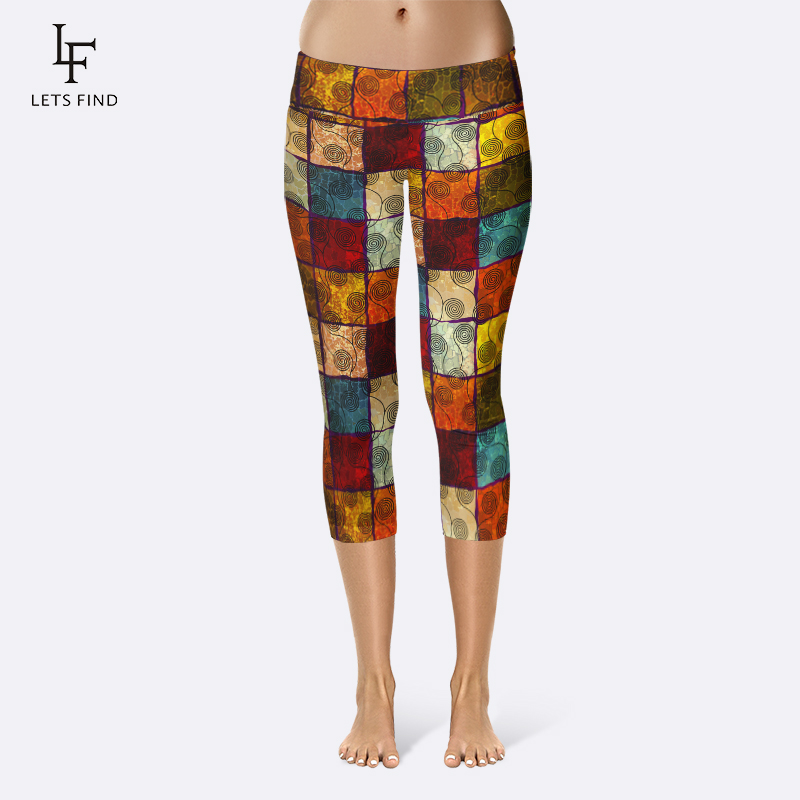 LETSFIND Summer New Colorful Plaid Digital Printing High Waist Plus Size Capri Leggings Fitness Comfortable Legging For Women