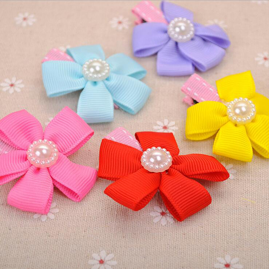 Hair bow button accessories - Wholesale 5 Pcs Lot 5 Pattern Pet Dog Grooming Accessories Products Pearl Flowers Dog Hair