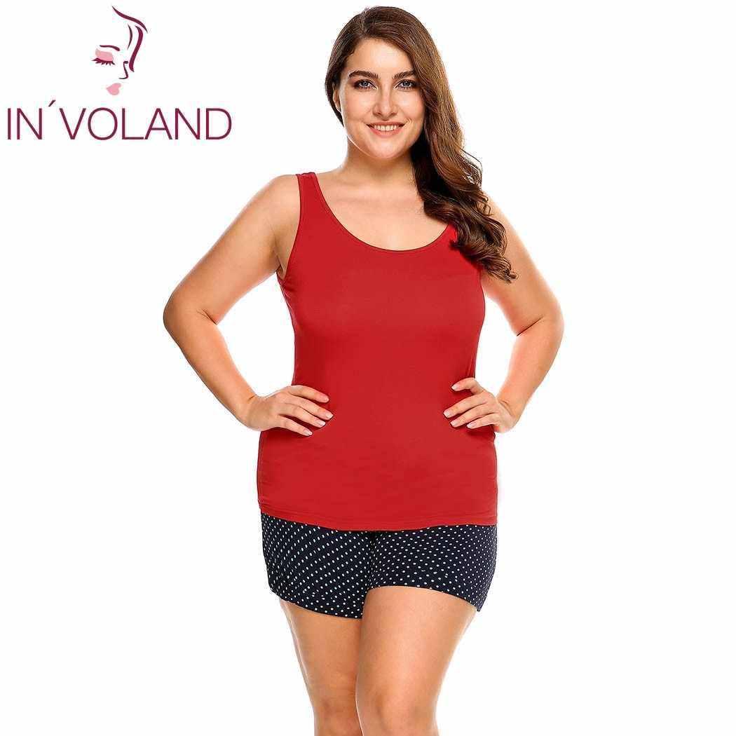 1fe254c7a98ae ... IN VOLAND Women Tank Tops Plus Size L-4XL Scoop Neck Solid Casual Cotton  ...