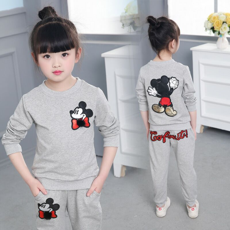 3-11Year Autumn Boy Hooded Clothes Girl Warm Cotton Clothing Sets Sweatshirt Pant 2pcs Fashion Children Sports Suit Mickey Print