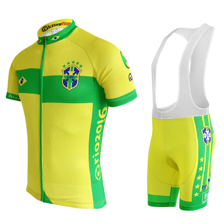New 2018 Brazil Cycling jersey set Summer ropa Ciclismo por team riding racing bike wear yellow clothing gel pad  bib shorts scoyco motorcycle riding knee protector extreme sports knee pads bycle cycling bike racing tactal skate protective ear