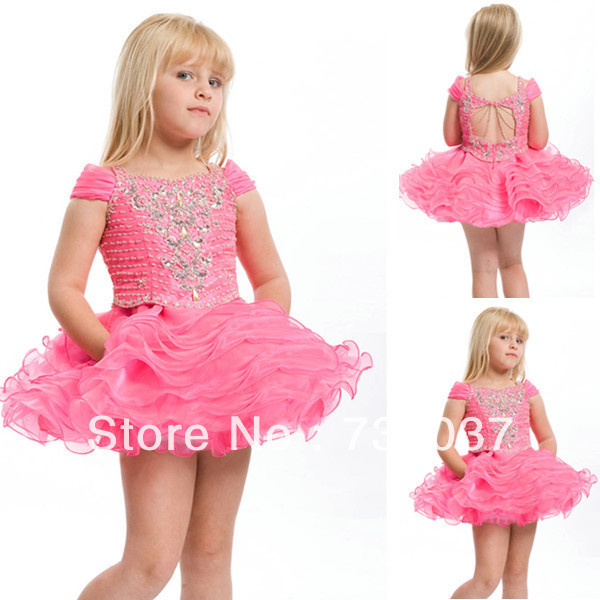 cap sleeve rhinestone decorations beaded party dress little girl ...