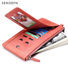 Sendefn молнии портмоне натуральная кожа женщин бумажники долго леди кошелек женский держателя карты телефон карман кошелек Женщины