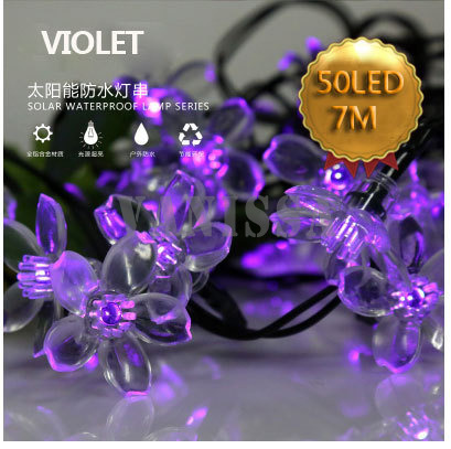 50LED17M led solar string lights outdoor waterproof lawn garden led lamp solar flower floral warm white 4colors free shipping