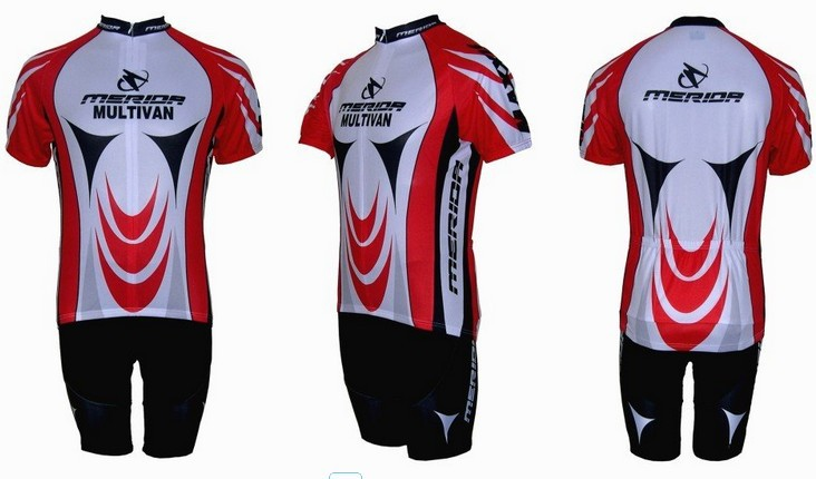 Free shipping! 2010 RED WHITE MERIDA team cycling jersey and shot / short sleeve jerseys+Z123 bike bicycle wear set COOL MAX