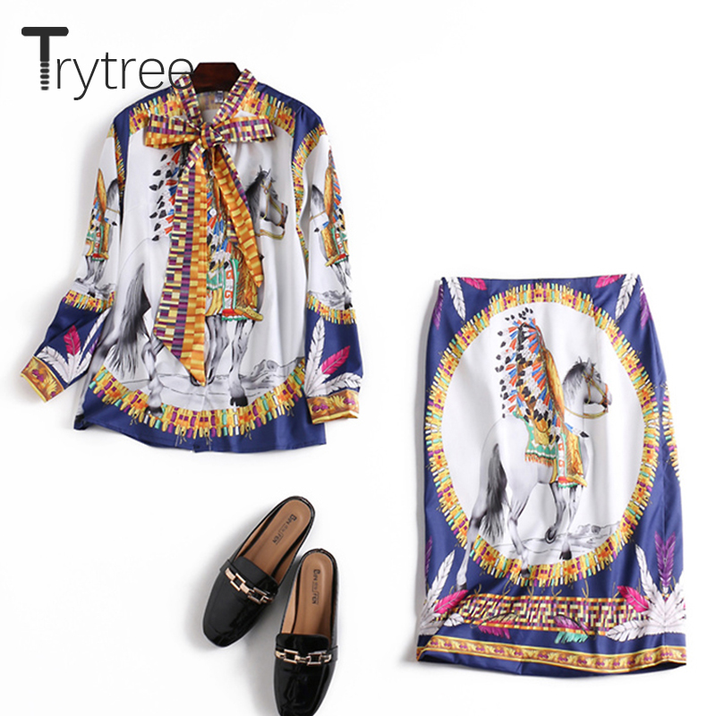 Trytree Summer Autumn Silky Print Women Two Piece Set Tie Bow Tops + Skirt Knee-Length Solid Suit Set Office Lady 2 Piece Set