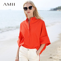 Amii Minimalist Women 2019 Summer Blouse 3/4 Sleeve Batwing Sleeve Turn down Collar Female Blouses Shirts