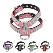 Dog Collar Bling Rhinestone Harness Soft Suede Fabric Leash For Small Cat Puppy No Pull Pet Accessories