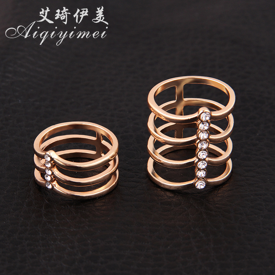 Aiqiyimei Hot 2 pcs/set Fashion multilayer Cross Ring Set Gold Color Simple Finger rings For Women Jewelry Anillos Wholesale