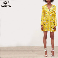ROHOPO Autumn Orange Floral Mini Dress Preppy Girl Long Sleeve Straight Top Draped Cute Dresses #AZ9241